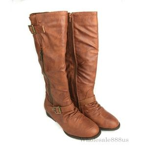 Brown Tall Below Knee Buckle Cowboy Boots
